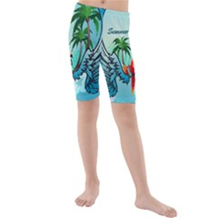 Summer Design With Cute Parrot And Palms Kid s swimwear