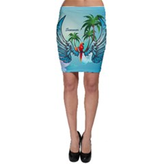 Summer Design With Cute Parrot And Palms Bodycon Skirts