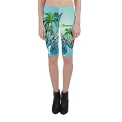 Summer Design With Cute Parrot And Palms Cropped Leggings