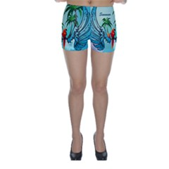 Summer Design With Cute Parrot And Palms Skinny Shorts