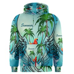 Summer Design With Cute Parrot And Palms Men s Pullover Hoodies