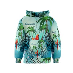 Summer Design With Cute Parrot And Palms Kid s Pullover Hoodies