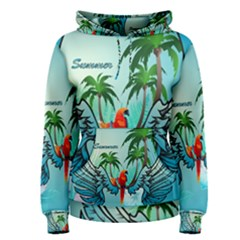 Summer Design With Cute Parrot And Palms Women s Pullover Hoodies