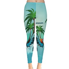 Summer Design With Cute Parrot And Palms Winter Leggings