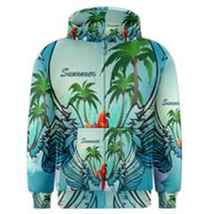 Summer Design With Cute Parrot And Palms Men s Zipper Hoodies