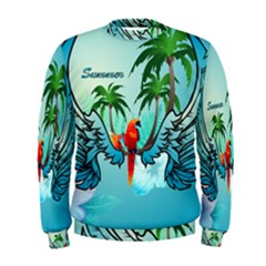 Summer Design With Cute Parrot And Palms Men s Sweatshirts