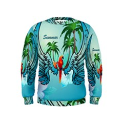 Summer Design With Cute Parrot And Palms Boys  Sweatshirts