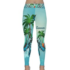 Summer Design With Cute Parrot And Palms Yoga Leggings