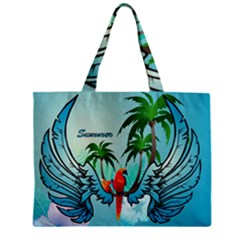 Summer Design With Cute Parrot And Palms Zipper Tiny Tote Bags