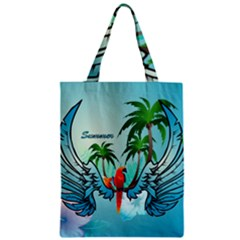 Summer Design With Cute Parrot And Palms Zipper Classic Tote Bags