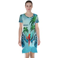 Summer Design With Cute Parrot And Palms Short Sleeve Nightdresses