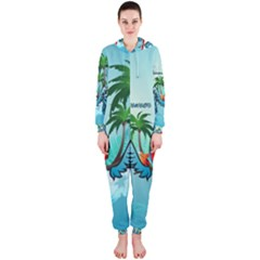 Summer Design With Cute Parrot And Palms Hooded Jumpsuit (Ladies)