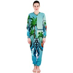 Summer Design With Cute Parrot And Palms OnePiece Jumpsuit (Ladies)