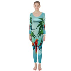 Summer Design With Cute Parrot And Palms Long Sleeve Catsuit