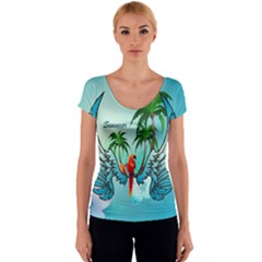 Summer Design With Cute Parrot And Palms Women s V-Neck Cap Sleeve Top