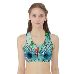 Summer Design With Cute Parrot And Palms Women s Sports Bra with Border