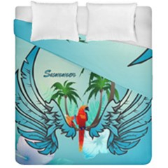 Summer Design With Cute Parrot And Palms Duvet Cover (double Size)