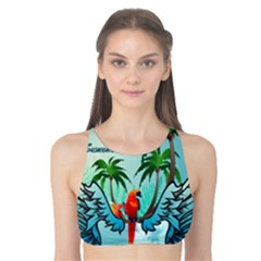 Summer Design With Cute Parrot And Palms Tank Bikini Top