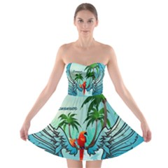 Summer Design With Cute Parrot And Palms Strapless Bra Top Dress