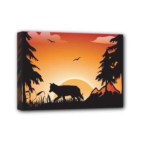 The Lonely Wolf In The Sunset Mini Canvas 7  X 5