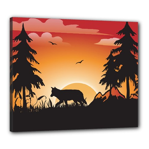 The Lonely Wolf In The Sunset Canvas 24  x 20