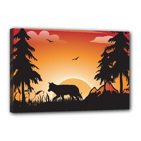 The Lonely Wolf In The Sunset Canvas 18  x 12