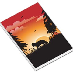 The Lonely Wolf In The Sunset Large Memo Pads
