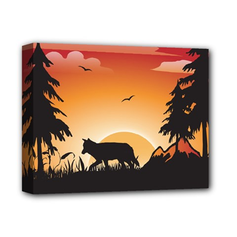The Lonely Wolf In The Sunset Deluxe Canvas 14  x 11