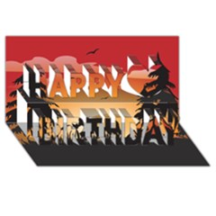 The Lonely Wolf In The Sunset Happy Birthday 3D Greeting Card (8x4)