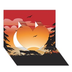 The Lonely Wolf In The Sunset Heart 3D Greeting Card (7x5)