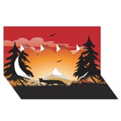 The Lonely Wolf In The Sunset Twin Hearts 3D Greeting Card (8x4)