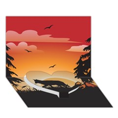 The Lonely Wolf In The Sunset Heart Bottom 3d Greeting Card (7x5)
