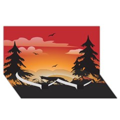 The Lonely Wolf In The Sunset Twin Heart Bottom 3d Greeting Card (8x4)