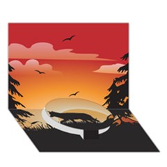 The Lonely Wolf In The Sunset Circle Bottom 3D Greeting Card (7x5)