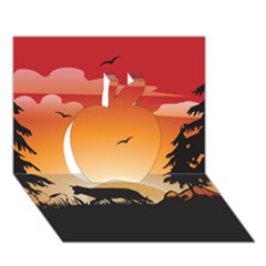 The Lonely Wolf In The Sunset Apple 3d Greeting Card (7x5)