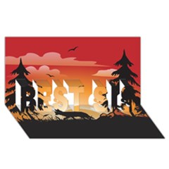 The Lonely Wolf In The Sunset Best Sis 3d Greeting Card (8x4)