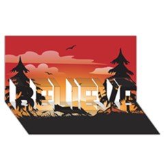 The Lonely Wolf In The Sunset Believe 3d Greeting Card (8x4)