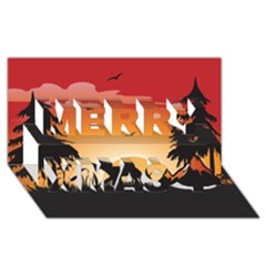 The Lonely Wolf In The Sunset Merry Xmas 3d Greeting Card (8x4)