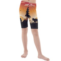 The Lonely Wolf In The Sunset Kid s swimwear