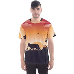 The Lonely Wolf In The Sunset Men s Sport Mesh Tees