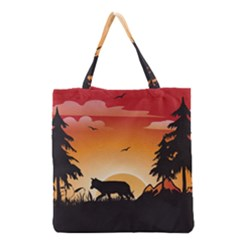 The Lonely Wolf In The Sunset Grocery Tote Bags