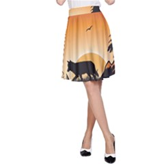 The Lonely Wolf In The Sunset A-Line Skirts