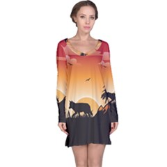The Lonely Wolf In The Sunset Long Sleeve Nightdresses