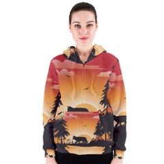 The Lonely Wolf In The Sunset Women s Zipper Hoodies