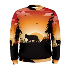 The Lonely Wolf In The Sunset Men s Sweatshirts