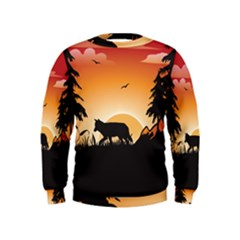 The Lonely Wolf In The Sunset Boys  Sweatshirts