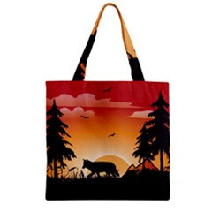 The Lonely Wolf In The Sunset Zipper Grocery Tote Bags