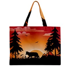 The Lonely Wolf In The Sunset Zipper Tiny Tote Bags