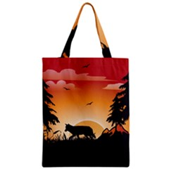 The Lonely Wolf In The Sunset Zipper Classic Tote Bags