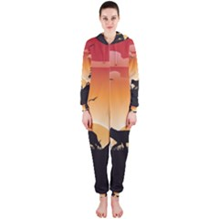 The Lonely Wolf In The Sunset Hooded Jumpsuit (Ladies)